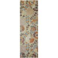 Hand-tufted Green Panel K New Zealand Wool Area Rug (2'6 x 8')