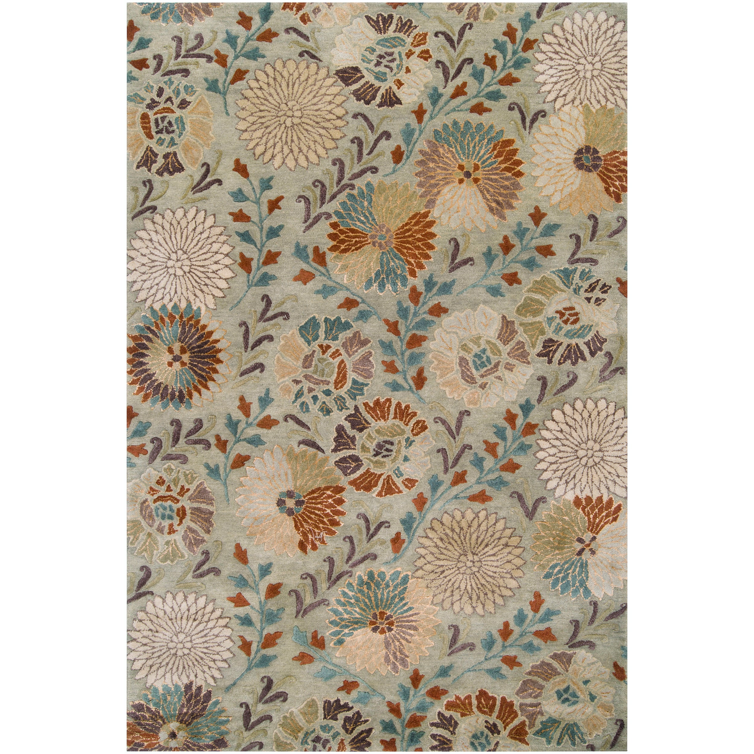 Hand-tufted Green Panel K New Zealand Wool Rug (3'3 x 5'3)