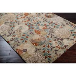 Hand-tufted Green Panel K New Zealand Wool Rug (3'3 x 5'3) - Thumbnail 1