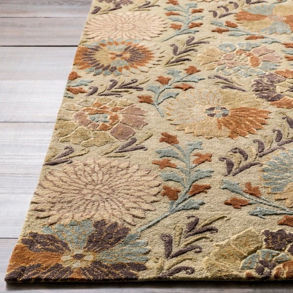 Hand-tufted Green Panel K New Zealand Wool Area Rug - 3'3 x 5'3