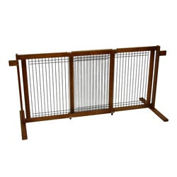 Crown Pet Tall Freestanding 40.6 - 75.5-inch Large Span Pet Gate with Security Arms