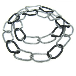 Eternally Haute Black and Silvertone Stainless Steel Mesh Link Necklace
