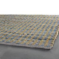 Flat-weave Mandara Blue-Tan Rug (5' x 7'6)