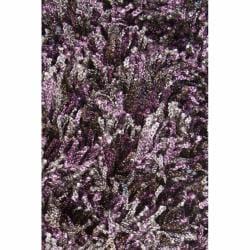 ... Handwoven Gray/Purple/Brown Mandara Shag Rug (9u0027 X 13u0027)