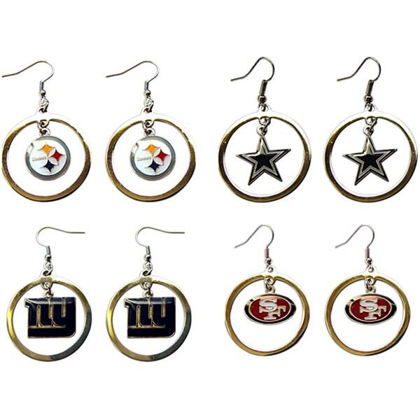 NFL Logo Charm Gift Hoop Earring Set