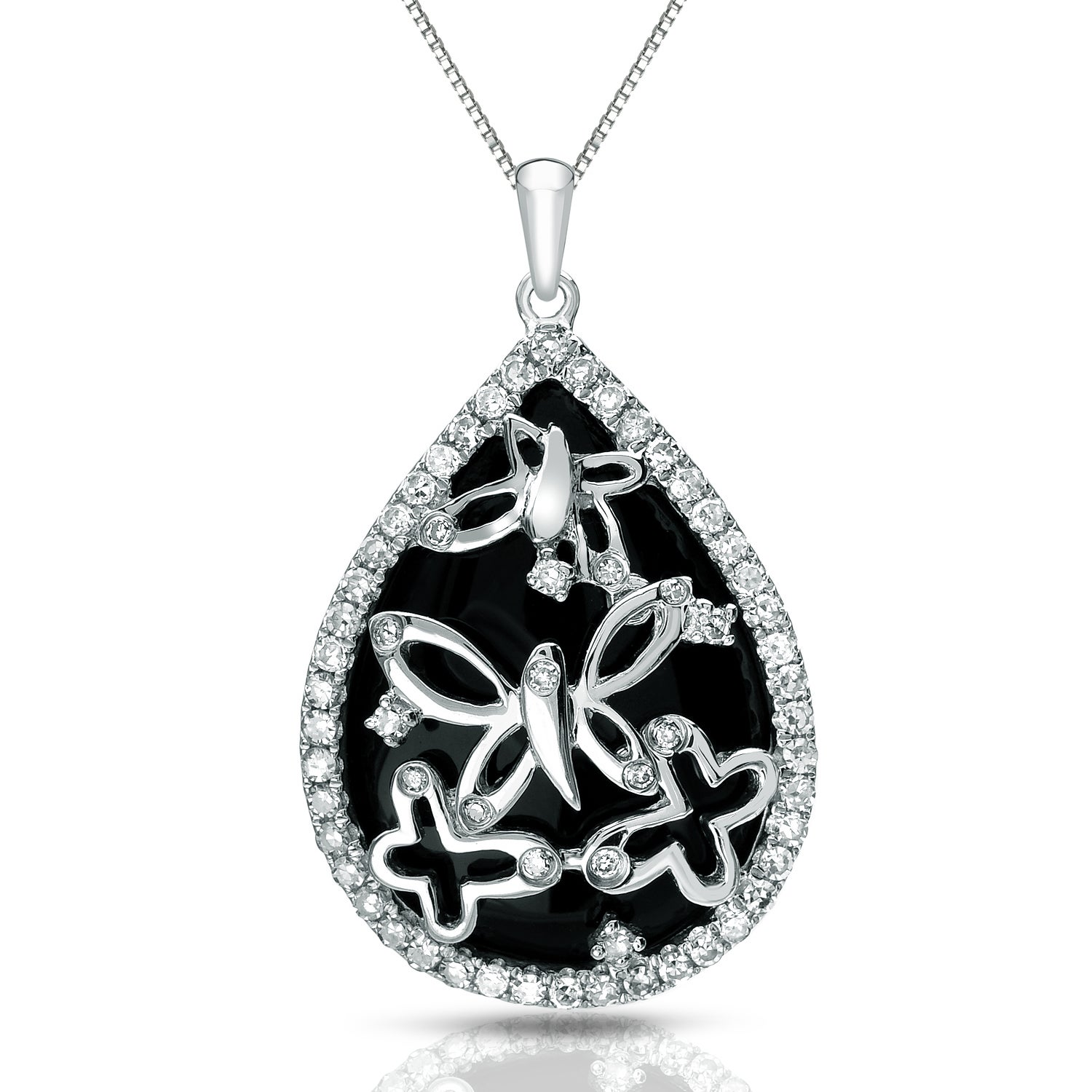 rhodium in onyx jewellery black c silver necklace en necklaces