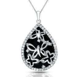 Auriya 14k White Gold Black Onyx and 1/3ct TDW Diamond Necklace (G-H, I1-I2)