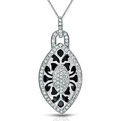 Auriya 14k White Gold Black Onyx and 3/8ct TDW Diamond Necklace (G-H, I1-I2)