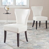 Safavieh En Vogue Dining Matty Cream Leather Nailhead Dining Chairs (Set of 2)