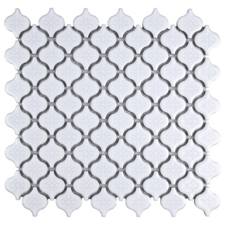SomerTile Mini White Porcelain Mosaic Tile (Pack of 10)