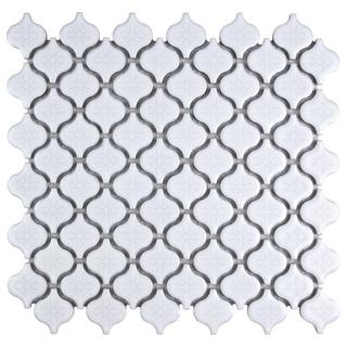 SomerTile 10.75x11.25 Morocco Mini Glossy White Porcelain Mosaic Floor and Wall Tile (10 tiles/8.4 sqft.)