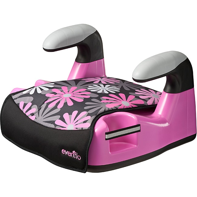 Evenflo Amp Graphics No-back Booster Car Seat in Pink Retro Flowers