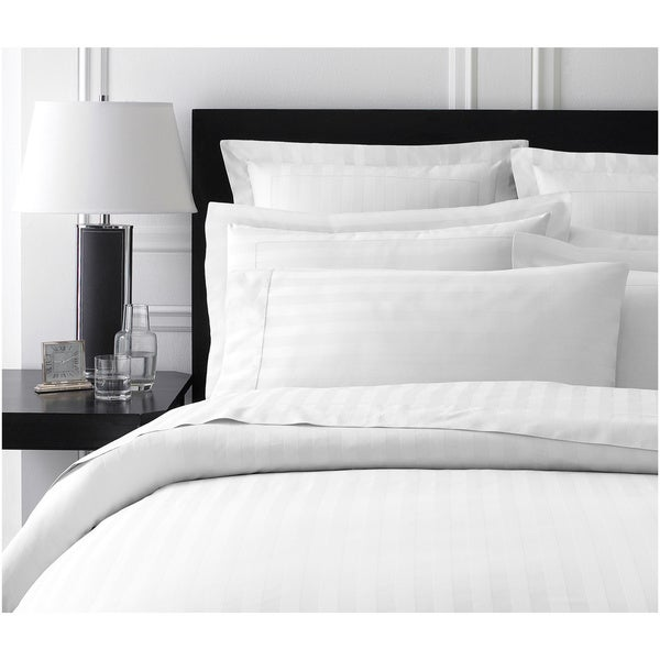 Damask Stripe Collection 400 Thread Count Queen-size Duvet Cover