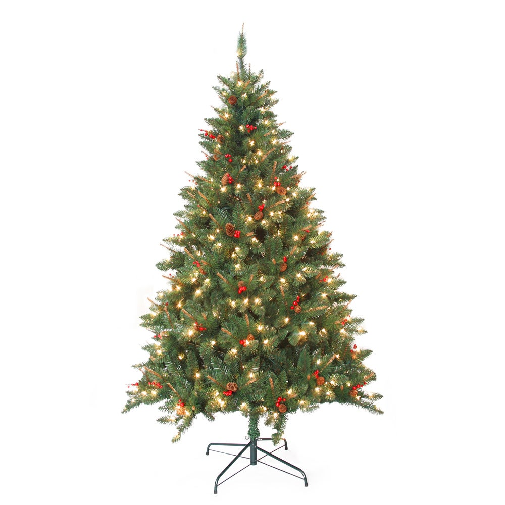 Jeco Pre-Lit Berrywood Pine 7-foot Artificial Christmas T...
