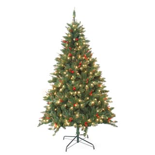 pre lit berrywood pine 7 foot artificial christmas tree