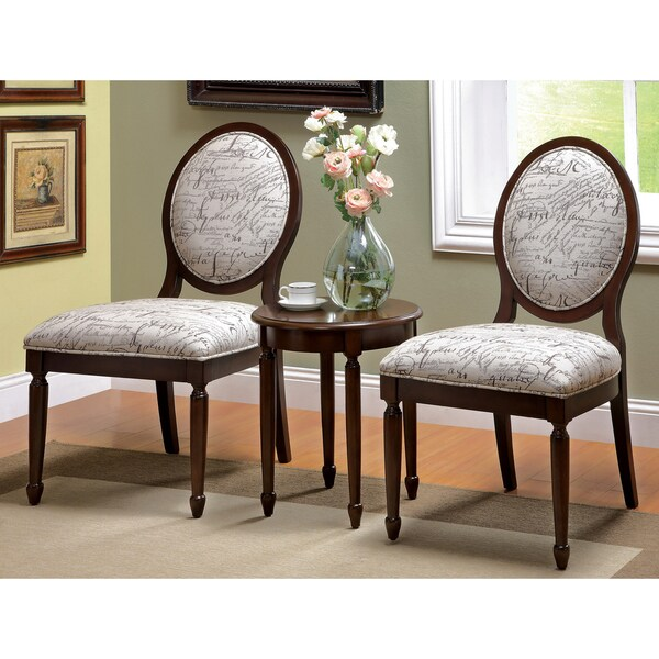 Furniture of America Milanie 3-piece Dark Walnut Accent Chair and Table Set