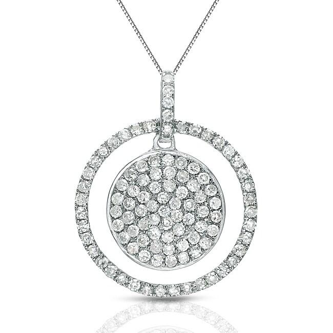 Auriya 14k White Gold 1/2ct TDW Diamond Double Circle Necklace (G-H, I1-I2)