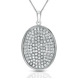 Auriya 14k White Gold 1/2ct TDW Pave Diamond Oval Necklace