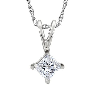 Montebello Platinum 1 3ct TDW Princess Cut Diamond Solitaire Necklace