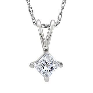 Montebello Platinum 1/3ct TDW Princess-cut Diamond Solitaire Necklace