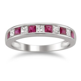 Montebello 14k White Gold Ruby, Emerald or Sapphire and 1/2ct TDW Diamond Band (H-I, I1-I2)