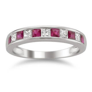 Montebello 14KT White Gold Gemstone and 1/2ct TDW Diamond Band