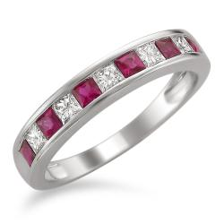 Montebello 14k White Gold Ruby and 1/4ct TDW Diamond Band (H-I, I1-I2)