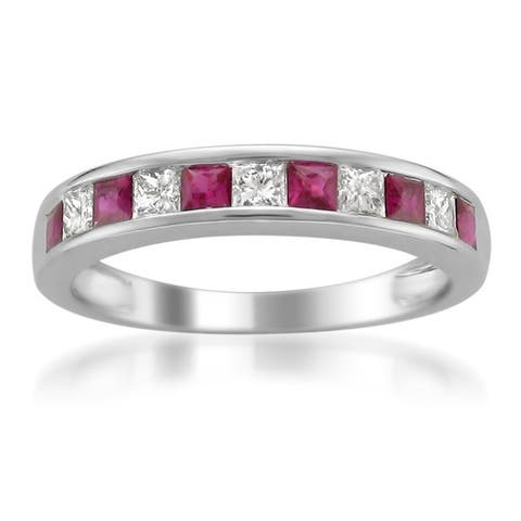 Montebello 14KT White Gold Gemstone and 1/5ct TDW Diamond Band