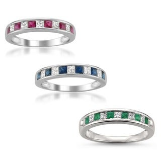 montebello 14k white gold ruby sapphire or emerald and 15ct tdw diamond band - Wedding Ring Pics