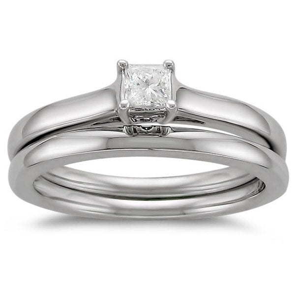 Montebello 14k Gold 1/4ct TDW Diamond Solitaire Bridal Ring Set