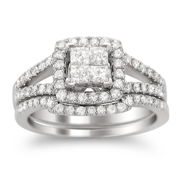 Montebello 14k White Gold 1ct TDW Diamond Bridal Ring Set (H-I, I1-I2)