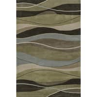 Hand-tufted Chalice Olive/ Brown Rug - 7'9 x 9'9