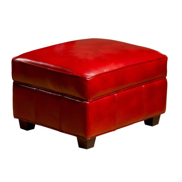 Marbella Leather Storage Ottoman in Art Red