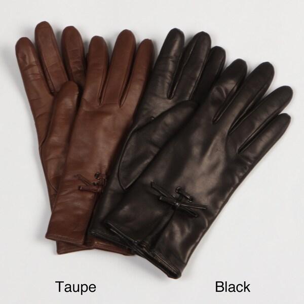 Portolano Women's Leather Bow-Detail Gloves