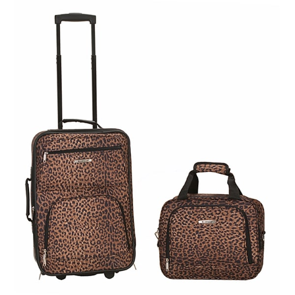 Rockland Deluxe Leopard 2-Piece Lightweight Carry-On Luggage Set