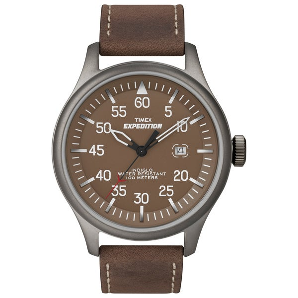 fa9b1caf63ae Shop Timex Men s Expedition Military Field Brown Leather Strap Watch - Free  Shipping On Orders Over  45 - Overstock - 6620712