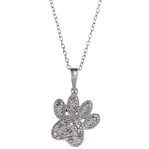 Sterling Silver 1/10ct TDW Diamond Dog Paw Necklace (J-K, I3)