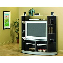 Cappuccino Entertainment Center with Silver Base