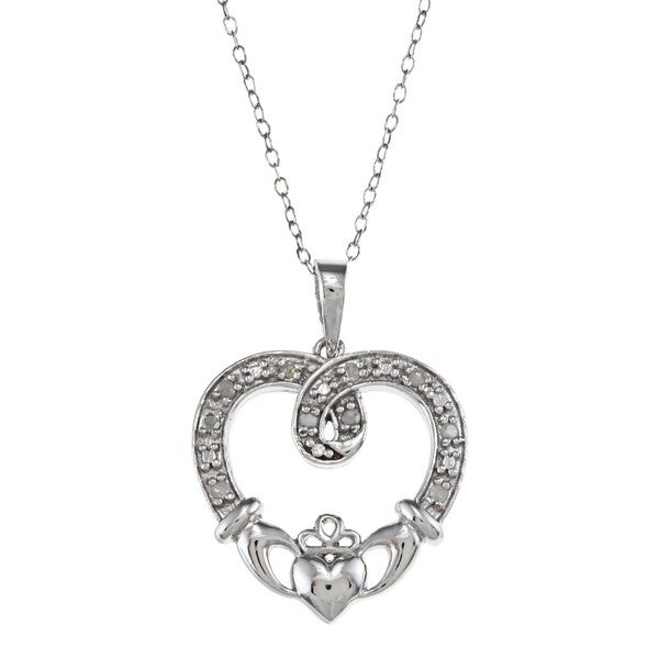 Sterling Silver 1/10ct TDW Diamond Claddagh Heart Necklace (J-K, I3)