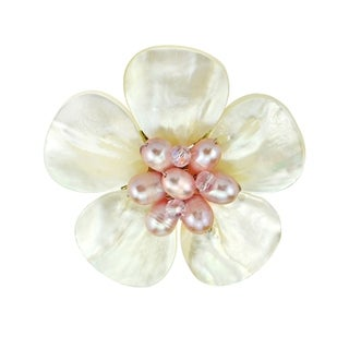 Link to Handmade White Floral Plumeria Mother of Pearl Pin Brooch (Thailand) Similar Items in Charms & Pins
