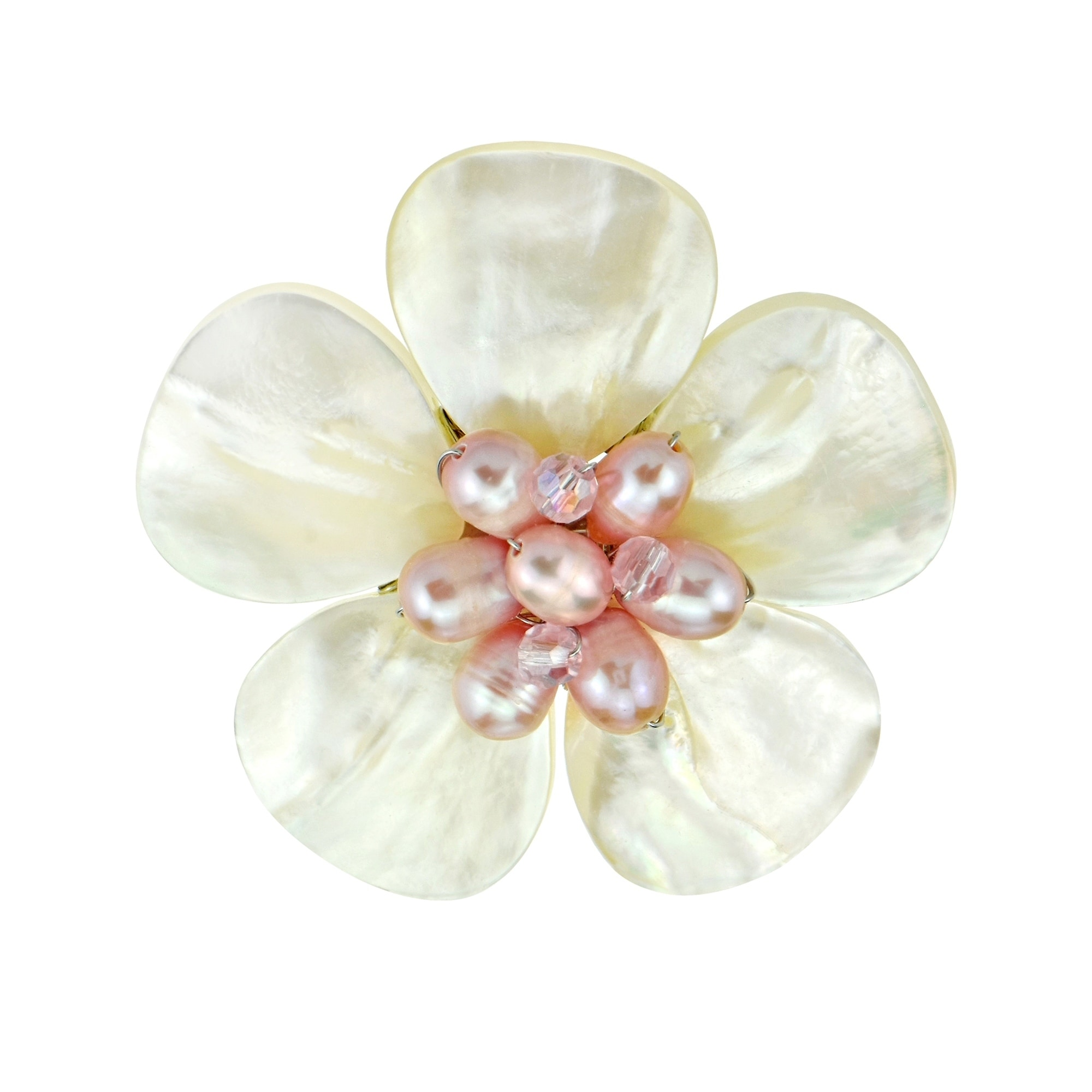 Aeravida Handmade White Floral Plumeria Mother of Pearl P...