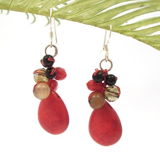 Red Teardrop Sweet Coral Stones Handmade Earrings (Thailand)