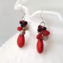 Red Teardrop Sweet Coral Stones Handmade Earrings (Thailand) - Thumbnail 1