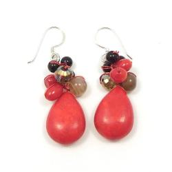 Red Teardrop Sweet Coral Stones Handmade Earrings (Thailand) - Thumbnail 2