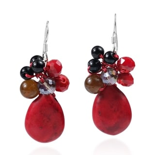 Teardrop Sweet Synthetic Coral Stones Handmade Red Earrings (Thailand)