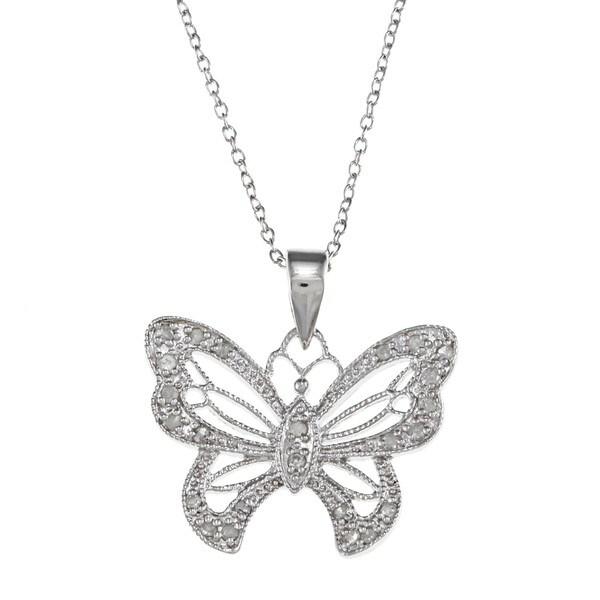 Sterling Silver 1/4ct TDW Diamond Butterfly Necklace (J-K, I3)