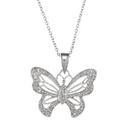 Sterling Silver 1/4ct TDW Diamond Butterfly Necklace (J-K, I3)