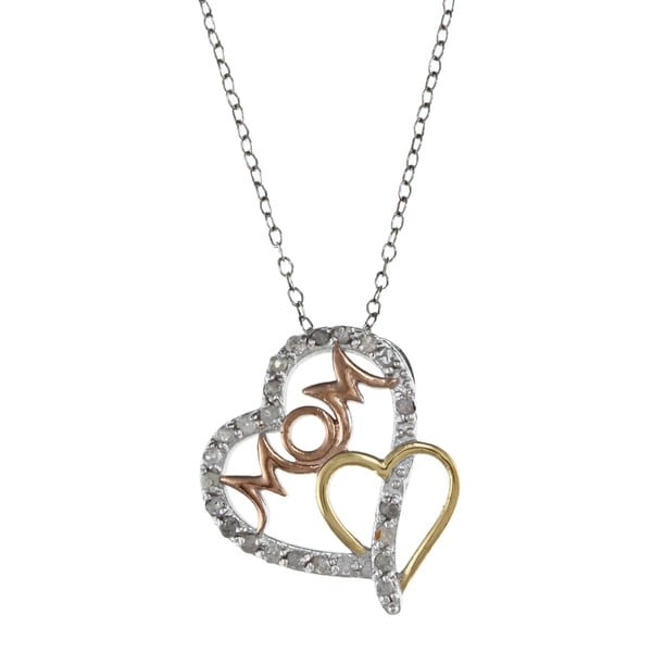 Tri-color Silver 1/4ct TDW Diamond Mom Double Heart Necklace (J-K, I3)
