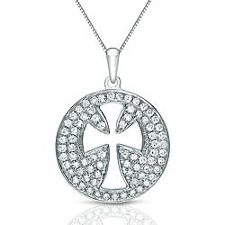 Auriya 14k White Gold 1/3ct TDW Diamond Pave Cross Necklace