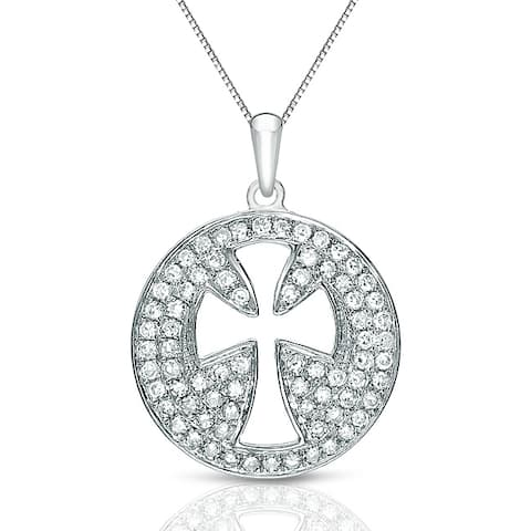 Auriya 14k White Gold 1/3ct TDW Diamond Pave Cross Necklace